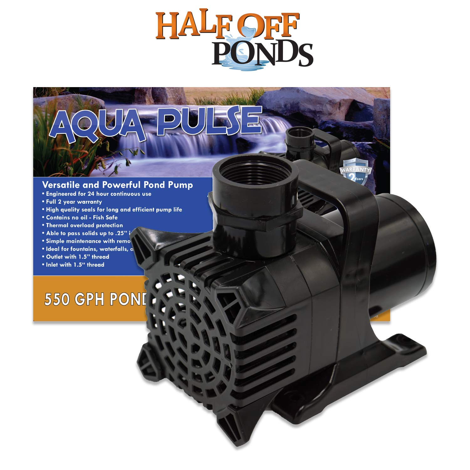 Aqua Pulse 1,600 GPH Submersible Pump for Ponds, Water Gardens, Pondless Waterfalls and Skimmers